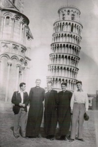 Five more leaning towers. From left to right: Calum McLellan, Jock Dalrymple, Dan Friel, Jim Foley, Paddy Gilbride.